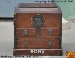 10Chinese Huanghuali Wood Carved Dragon Storage Jewelry Box Boxes Treasure Case