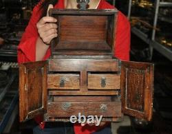 10Chinese old dynasty Huanghuali wood Carved Dragon statue Jewelry Box cabinet