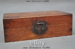 10Old China Unique Huanghuali Wood pure Hand-Carved Jewelry Box Container Boxes