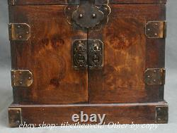 10Old Chinese Huanghuali Wood Dynasty Drawer Storage Jewelry Box Cabinet Chest