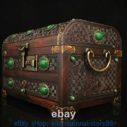10.2 Old Chinese Wood inlay Jade Gem Dynasty Palace landscape Jewelry Box