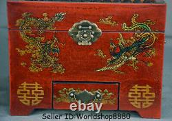 10.2 Old Chinese Wood lacquerware Dynasty Dragon Phoenix abacus Jewelry box