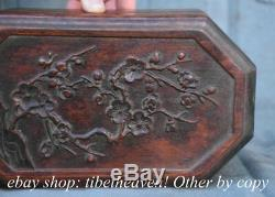 10.4 Old Chinese Redwood Carving Dynasty Palace Plum Blossom Jewelry Box