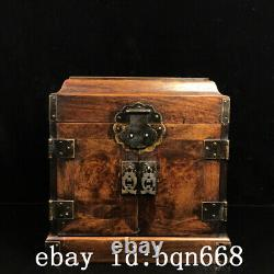 10 Chinese old antique huanghuali wood handmade jewelry box statue