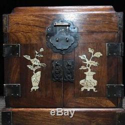 10 Chinese old carved huanghuali Wood inlay shell vase palace Jewelry box