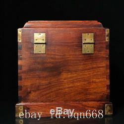 10 Chinese old huanghuali wooden handcarved inlay flowers birds Jewelry box