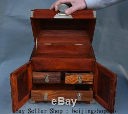 10 New Chinese 100% Huanghuali Wood Carving 3 Drawer jewel case Jewelry box