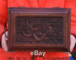 10 Old Chinese Huanghuali Wood Double Dragon Furnitur Drawer Door JEWELLERY BOX