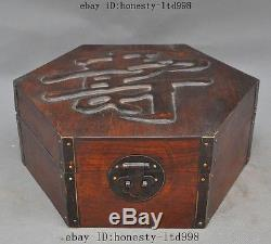 10 Old Chinese Huanghuali Wood Pure Hand-Carved Jewelry Box Container Boxes