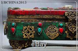 10 old tibet Buddhism Bronze Gild Turquoise Red Coral Jewelry boxes storage box