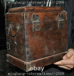 10old chinese huanghuali wood Hand carved drawer Jewelry Box storage box statue