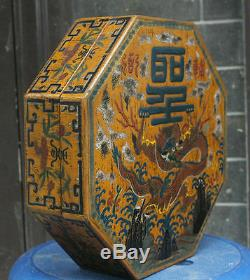 11.2 Marked Chinese Lacquerware Wood Qing Dynasty Dragon JEWELLERY Storage Box
