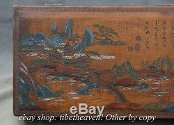 11.6 Chinese Lacquerware House Tree Scenery Poetry Storage Jewelry Box Chest