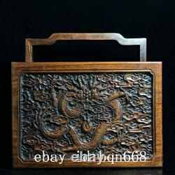 11 Chinese old antique huanghuali wood handcarved Dragon pattern Jewelry box