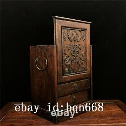 11 Chinese old antique huanghuali wood handcarved bat Jewelry box