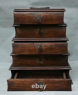 11 Old Chinese Huanghuali Wood Carved Drawer Pagoda Handle Storage Jewelry Box
