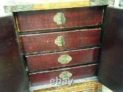 11 Vintage China Chest Jewelry Box Wood Silver Enamel Brass Silk and Floral