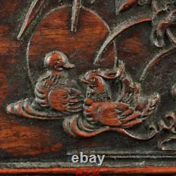 11 personal collection Chinese old Huanghuali Mandarin ducks Lotus jewelry Box