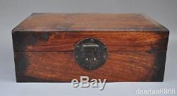 11old chinese huanghuali wood pure hand-carved Jewelry boxes storage box statue
