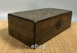 12.4'' Chinese Antique Wood Box natural Old Rosewood Box Jewelry Box Dragon