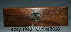 12.4 Old China Huanghuali Wood Carving Dynasty Words Storage Jewelry Box