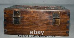12 Antique Old Chinese Dynasty Palace Huanghuali Wood Words Jewelry box Boxes