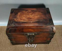 12'' Chinese Antique Wood Box natural old Rosewood Box Jewelry Box mirror