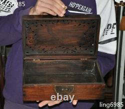 12 Chinese Huanghuali Wood Carved Boutique Lotus Fish storage boxes Jewelry Box