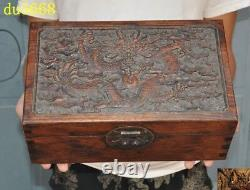 12 Chinese Huanghuali wood carved Zodiac animal Dragon statue Jewelry Box boxes
