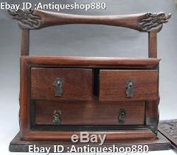 12 Chinese Wood Dragon Handle Flower Statue casket Jewelry Jewellery Case Boxes