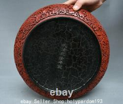 12 Marked Old Chinese Red Lacquerware Dynasty Hill Tree Human jewelry Round Box