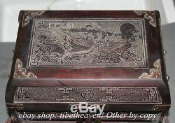 12 Old Chinese Dynasty Wood Goddess Carving Storage Jewelry Box Chest