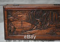 12 Old Chinese Huanghuali Wood Carved Dynasty Scenery Man fishing Jewelry Box