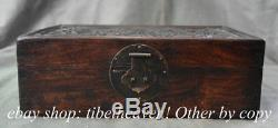 12 Old Chinese Huanghuali Wood Dynasty Palace Hand Carving Dragon Jewelry Box