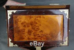 12 Old Chinese Nanmu Gold With Red Wood Frame Jewel Jewelry Storage Chest Box