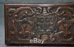 12 Rare Old Chinese Huanghuali Wood Carving Palace Dragon Beast Jewelry Box