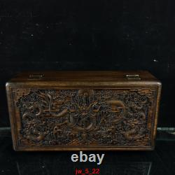 12 personal collection Chinese old Huanghuali Three dragons chart jewelry Box