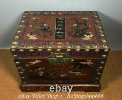 13.6 Old Chinese Lacquerware Wood Painting Dynasty Double Dragon jewelry Box