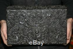 13.8 Marked Old Chinese Ebony Black Wood Dynasty Dragon Bead Jewelry box Boxes