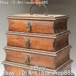 13 Chinese Boxwood Wood Carving 5 Floor Portable Drawer Locker Jewelry Box
