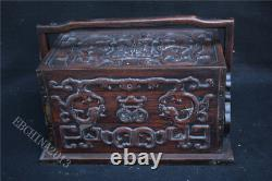 13 Old Chinese Huanghuali Wood Carved Dynasty Drawer Jewelry Box Jewel Case
