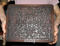 14Chinese Huanghuali Wood Carved Lotus Jewelry box storage boxes Treasure chest