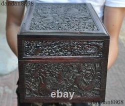 14Old Chinese Huanghuali wood carving Dragon statue Jewelry Box