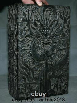14 Collect Old China Ebony Wood Hand Carving Dragon Beast Jewelry Storage Box