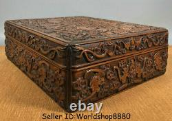 14 Old Chinese Huanghuali Wood Carved Dynasty Bat Birds Jewelry box jewel case