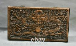 14 Old Chinese Huanghuali Wood Carving Dragon Furniture Small Jewelry Box