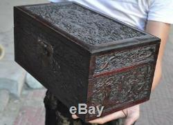 14 Old Chinese Huanghuali wood carving Dragon statue Jewelry Box