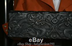 14 Old Chinese Sandalwood Wood Carved Dragon play Bead storage Jewelry box