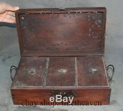 14 Old Chinese Wood Running Deer Tracery Storage Jewel Jewelry Rouge Box