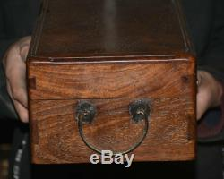 14 Rare Old Chinese Dynasty Huang huali Wood Hand Carved Jewelry box jewel case